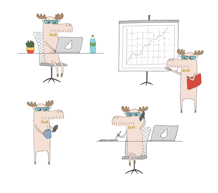 Hand drawn vector illustration of a funny moose working in an office, with a laptop, doing presentation, talking on the phone, on coffee break. Isolated objects on white background. Design concept.