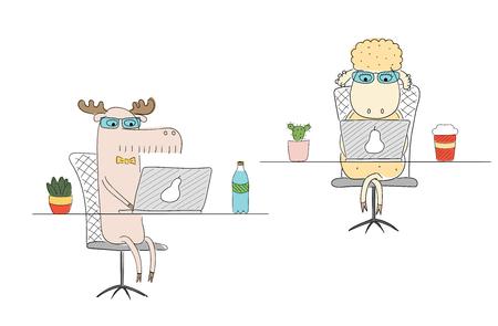 ノート パソコンと自分のデスクで、オフィス ワーカーとして面白い羊とムースの手描きベクトル イラスト。線の描画。白い背景の上の孤立したオ