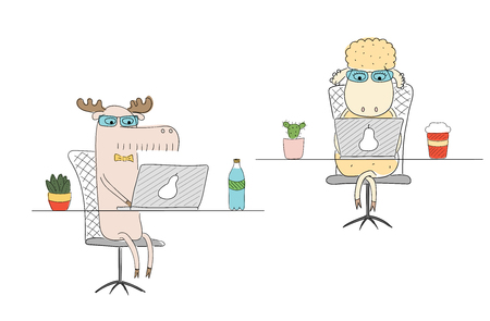 Hand drawn vector illustration of a funny sheep and moose as office workers, at their desks with laptops. Line drawing. Isolated objects on white background. Design concept for work, office, business.