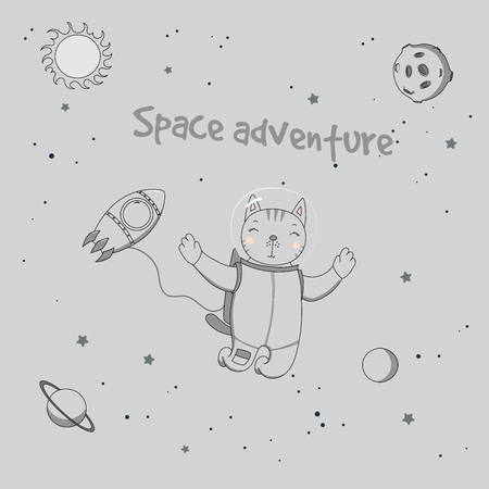 Hand drawn vector illustration of a cute funny cat astronaut on a spacewalk in outer space, with text Space adventure. Isolated objects. Unfilled outline. Design concept for children.