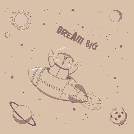 本文夢は大きく、宇宙空間でロケットを飛んでいるかわいい面白いフクロウ宇宙飛行士の手描きベクトル イラスト。孤立したオブジェクト。塗りつ