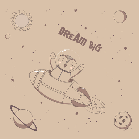 Hand drawn vector illustration of a cute funny owl astronaut flying in a rocket in outer space, with text Dream big. Isolated objects. Unfilled outline. Design concept for children. Ilustração