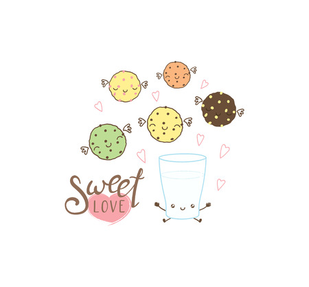 Hand drawn vector illustration of a cute glass of milk and cookies, with text Sweet love. Isolated objects on white background. Design concept dessert, kids, greeting card, motivational poster.