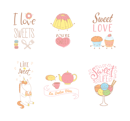 Set of hand drawn sweet food doodles, with kawaii cartoon faces, typography elements, Italian text La dolce vita (Sweet life). Isolated objects on white background. Design concept dessert, kids. Illustration