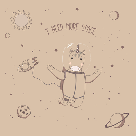 Hand drawn vector illustration of a cute funny unicorn astronaut on a spacewalk in outer space, with text I need more space. Isolated objects. Unfilled outline. Design concept for children. 向量圖像