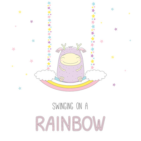 Hand drawn vector illustration of a cute funny smiling little monster, sitting on a rainbow swing, with text. Isolated objects on white background with stars. Design concept for children. Ilustração