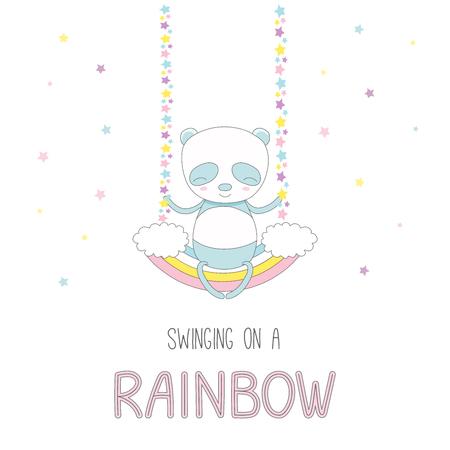 Hand getrokken vectorillustratie van een leuke grappige lachende kleine panda, zittend op een regenboogswing, met tekst. Geïsoleerde objecten op witte achtergrond met sterren. Ontwerpconcept voor kinderen.