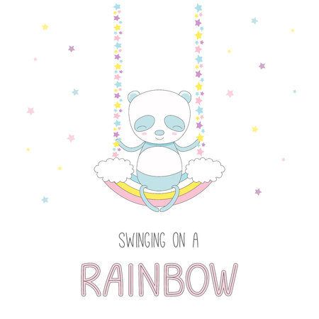 Hand drawn vector illustration of a cute funny smiling little panda, sitting on a rainbow swing, with text. Isolated objects on white background with stars. Design concept for children.