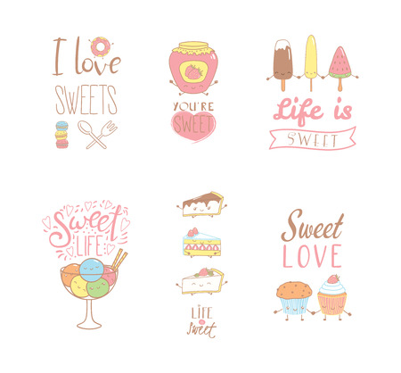 Set of different hand drawn sweet food doodles, with kawaii cartoon faces, typography elements. Isolated objects on white background. Design concept dessert, kids, greeting card, motivational poster. Çizim