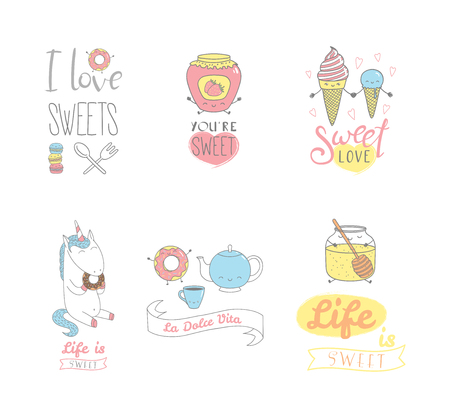 Set of hand drawn sweet food doodles, with kawaii cartoon faces, typography elements, Italian text La dolce vita (Sweet life). Isolated objects on white background. Design concept dessert, kids. 向量圖像