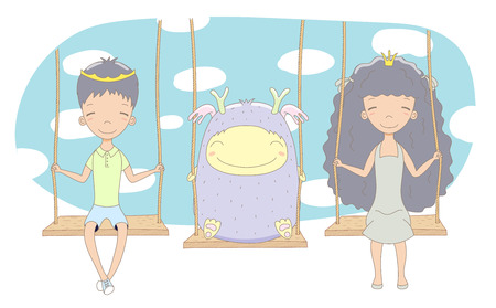 Hand drawn vector illustration of cute little princess and prince (crown can be removed) with monster, on a swing, with blue sky in the background. Isolated objects. Design concept for children.