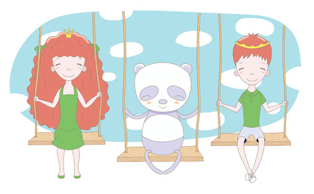 Hand drawn vector illustration of cute little princess and prince (crown can be removed) with panda, on a swing, with blue sky in the background. Isolated objects. Design concept for children.
