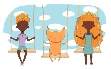 Hand drawn vector illustration of a cute little dark skinned princess and prince (crown can be removed) with cat, on a swing, with sky in the background. Isolated objects. Design concept for children.