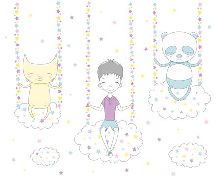 Bergeben Sie die gezogene Vektorillustration eines netten lustigen Jungen, der Katze und des Pandas, die auf Wolken, unter den Sternen schwingen. Isolierte Objekte auf weißem Hintergrund. Gestaltungskonzept für Kinder. Standard-Bild - 88890651