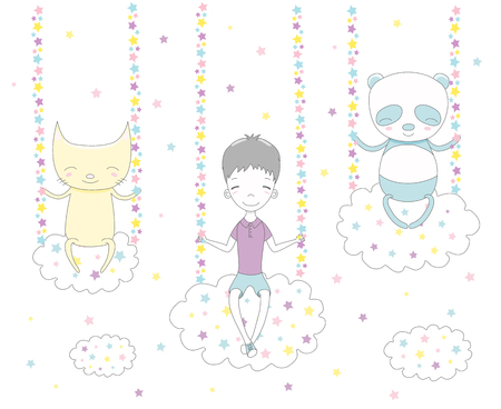 Hand drawn vector illustration of a cute funny boy, cat and panda swinging on clouds, among the stars. Isolated objects on white background. Design concept for children.