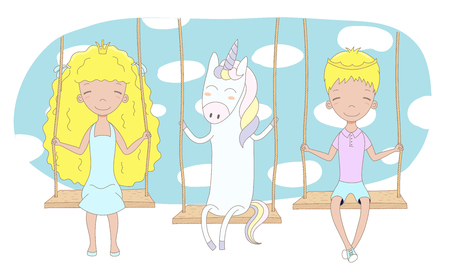 Hand drawn vector illustration of a cute little princess and prince (crown can be removed) with unicorn, on a swing, with blue sky in the background. Isolated objects. Design concept for children.