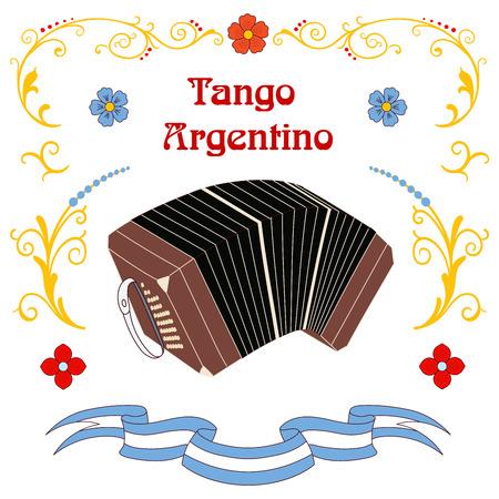 Ilustración de vector dibujado a mano con elementos de diseño de tango argentino - bandoneón, texto y ornamentos fileteado Buenos Aires tradicionales. Objetos aislados sobre fondo blanco. Concepto para bailar Foto de archivo - 88890654