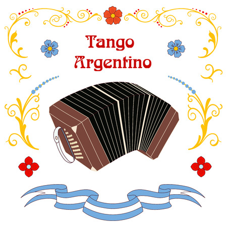 Hand drawn vector illustration with argentine tango design elements - bandoneon, text and traditional Buenos Aires fileteado ornaments. Isolated objects on white background. Concept for dancing. Illustration