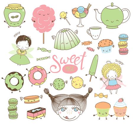 Set van verschillende hand getekend zoete eten doodles, met kawaii cartoon gezichten, meisje hoofd, schattige fee meisjes met vleugels en magische toverstokken. Geïsoleerde objecten op witte achtergrond. Ontwerpconcept dessert, kinderen.