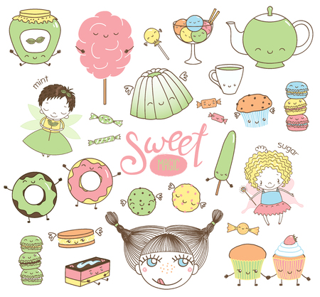 Set of different hand drawn sweet food doodles, with kawaii cartoon faces, girl head, cute fairy girls with wings and magic wands. Isolated objects on white background. Design concept dessert, kids.