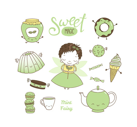 Set of different hand drawn sweet food doodles, with kawaii cartoon faces, arms, legs, cute fairy girl with wings and magic wand. Isolated objects on white background. Design concept dessert, kids. Illustration