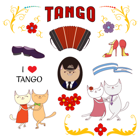 Hand drawn vector illustration with argentine tango design elements - bandoneon, funny cats, shoes, traditional Buenos Aires fileteado ornaments. Isolated objects on white background. Concept dancing.