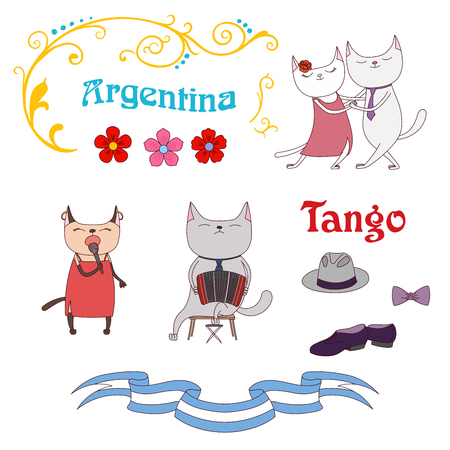Hand drawn vector illustration with funny cute cats in a milonga, dancing and singing argentine tango, playing bandoneon. Isolated objects on white background. Design concept for social dance, tango. Illustration