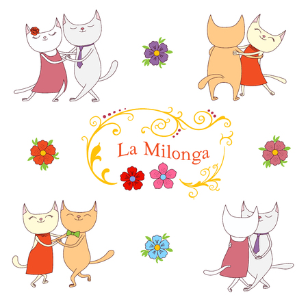 Hand drawn vector illustration with argentine tango design elements - funny cats dancing tango, traditional Buenos Aires fileteado ornaments. Isolated objects on white background. Concept for dance.