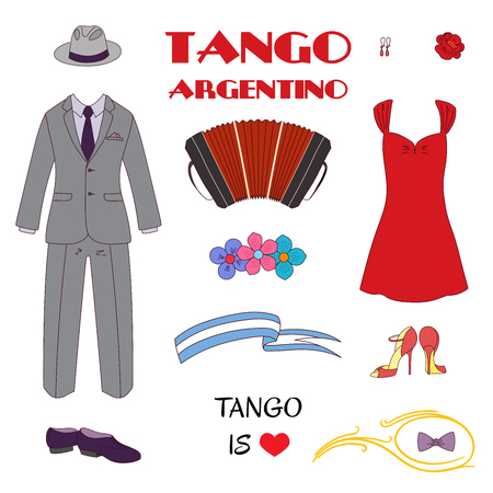 Hand drawn vector illustration with argentine tango design elements - bandoneon, dancing shoes and vintage clothes, text, flowers. Isolated objects on white background. Concept for dancing.