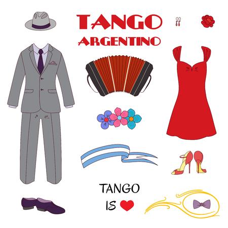 Hand getrokken vectorillustratie met Argentijnse tango ontwerpelementen - bandoneon, dansschoenen en vintage kleding, tekst, bloemen. Geïsoleerde objecten op witte achtergrond. Concept voor dansen. Stock Illustratie