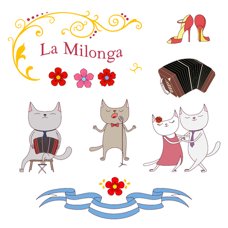 Hand drawn vector illustration with argentine tango design - cats dancing and singing , playing bandoneon, shoes, traditional Buenos Aires fileteado ornaments. Isolated objects on white background. Иллюстрация