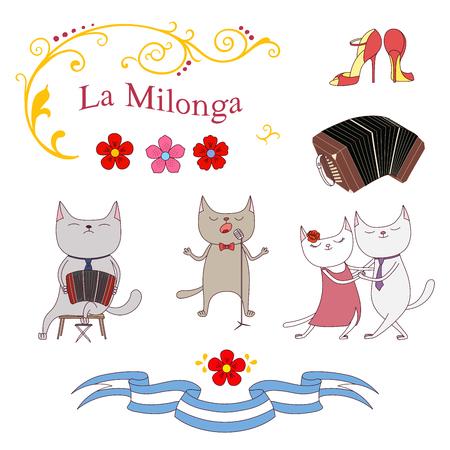 Ilustración de vector dibujado a mano con diseño de tango argentino - gatos bailando y cantando, jugando bandoneón, zapatos, adornos fileteado Buenos Aires tradicionales. Objetos aislados sobre fondo blanco. Foto de archivo - 88890664