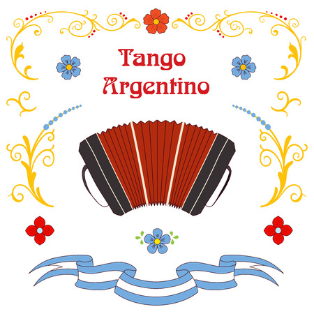Hand drawn vector illustration with argentine tango design elements - bandoneon, text and traditional Buenos Aires fileteado ornaments. Isolated objects on white background. Concept for dancing. Иллюстрация