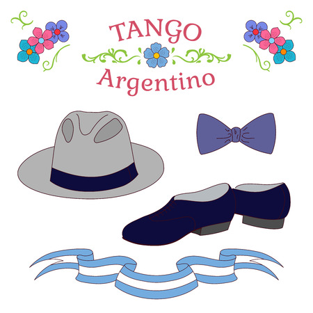 Hand drawn vector illustration with argentine tango design elements - men dancing shoes, hat, bow tie, traditional Buenos Aires fileteado ornaments. Isolated objects on white background. Concept dance