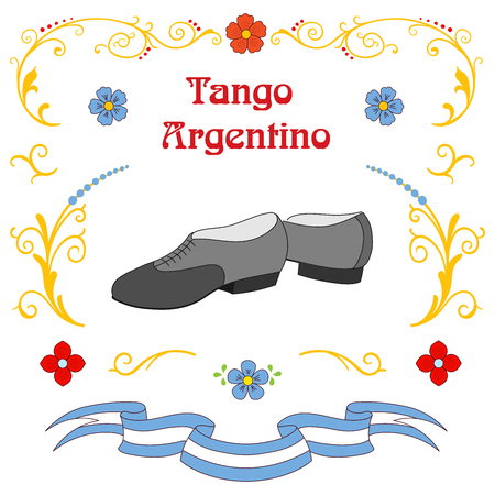 Hand drawn vector illustration with argentine tango design elements - men dancing shoes, text, traditional Buenos Aires fileteado ornaments. Isolated objects on white background. Concept for dance. Illustration