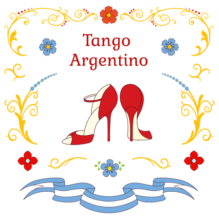 Hand drawn vector illustration with argentine tango design elements - women dancing shoes, text, traditional Buenos Aires fileteado ornaments. Isolated objects on white background. Concept for dance. 向量圖像