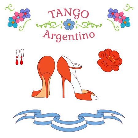 Hand drawn vector illustration with argentine tango design elements - women dancing shoes, earrings, flower, traditional Buenos Aires fileteado ornaments. Isolated objects on white background.