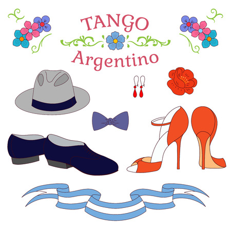 Hand drawn vector illustration with argentine tango design elements - men and women dancing shoes, accesories, traditional Buenos Aires fileteado ornaments. Isolated objects on white background.