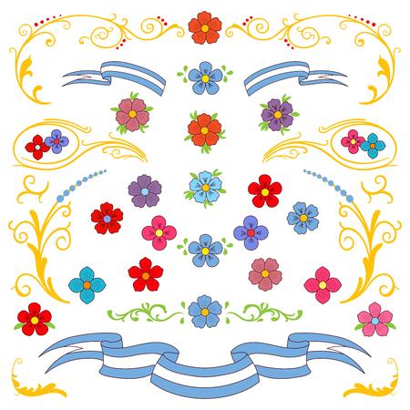 손으로 그린 벡터 일러스트 레이 션 전통적인 부에노스 아이레스 fileteado 장식 요소 - 꽃, 장식 식물, leafs 및 리본. 흰색 배경에 고립 된 개체입니다. 플 일러스트