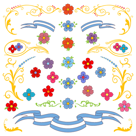Hand drawn vector illustration with traditional Buenos Aires fileteado ornament elements - flowers, decorative plants, leafs and ribbons. Isolated objects on white background. Floral design elements. Ilustração