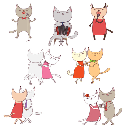bandoneon: Hand drawn vector illustration with funny cute cats in a milonga, dancing and singing argentine tango, playing bandoneon. Isolated objects on white background. Design concept for social dance, tango. Illustration