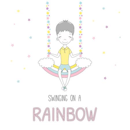Bergeben Sie die gezogene Vektorillustration eines netten lustigen lächelnden kleinen Jungen und auf einem Regenbogenschwingen sitzen, mit Text. Lokalisierte Gegenstände auf weißem Hintergrund mit Sternen. Gestaltungskonzept für Kinder. Standard-Bild - 88890698