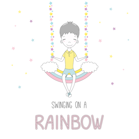 Hand drawn vector illustration of a cute funny smiling little boy, sitting on a rainbow swing, with text. Isolated objects on white background with stars. Design concept for children.