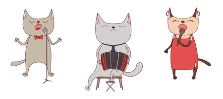 Hand drawn vector illustration with funny cute cats singing tango, playing bandoneon. Isolated objects on white background. Design concept for argentine tango.