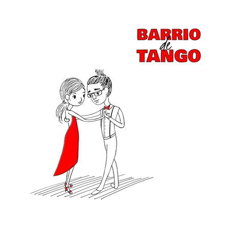 Hand getekend minimalistische illustratie van een grappig dansend paar met Spaanse tekst Barrio de tango, wat betekent Tango district. Ontwerpconcept voor poster, briefkaart, milonga, festival of school promomaterialen Stock Illustratie