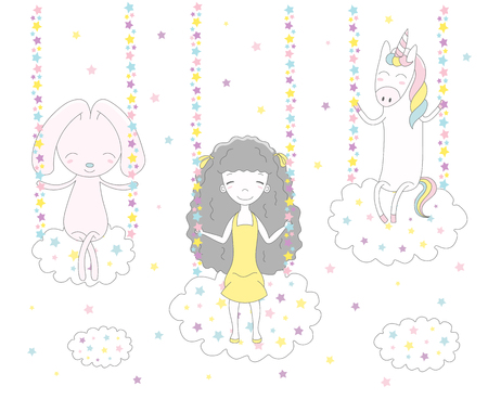 Hand drawn vector illustration of a cute funny girl with long hair, rabbit and unicorn swinging on clouds, among the stars. Isolated objects on white background. Design concept for children.