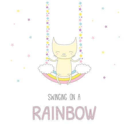 かわいい面白い笑顔少し猫のレインボー スイング、本文の上に座って手描きベクトル イラスト。星と白い背景の上の孤立したオブジェクト。子供の