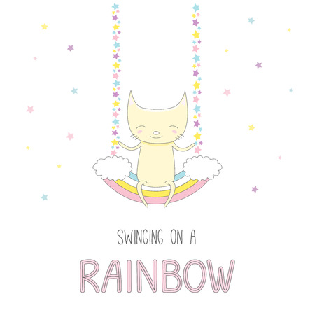 Hand drawn vector illustration of a cute funny smiling little cat, sitting on a rainbow swing, with text. Isolated objects on white background with stars. Design concept for children.