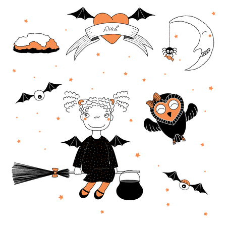 Hand drawn vector illustration of a funny witch girl with pig tails and bat wings, flying on a broomstick, and a cute owl, with text on a ribbon, heart, moon and stars. Design concept kids, Halloween.