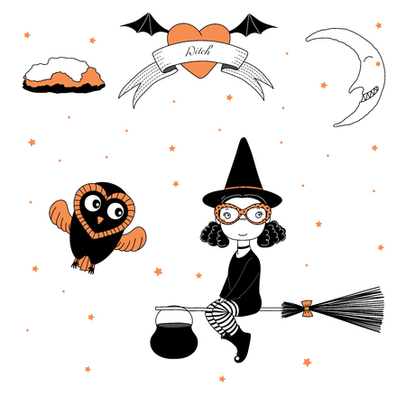 Hand drawn vector illustration of a funny cartoon witch girl in glasses, hat, flying on a broomstick, and a cute owl, with text on a ribbon, heart, moon and stars. Design concept kids, Halloween. Illustration